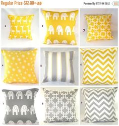 VENTE/couverture de coussin, oreiller, coussin décoratif, décor de plage, baby, pépinière, oreillers jaune gris, girafes, éléphants, expédition rapide