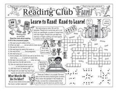 LEARN TO READ! READ TO LEARN! - Enjoy a reading-themed Two-Page Activity Set, Matching Puzzle, Word Search Puzzle, and Reading Log and Certificate Set with this discounted bundle! Includes the following products:   Learn to Read! Read to Learn! Two-Page