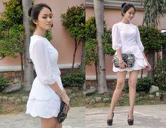 Ms. Dressy Petal Skirt Mini Wedding Dress, Calvin Klein Sequined Clutch, Oasap Black Pumps