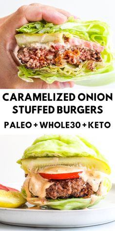 These Caramelized Stuffed Onion Burgers are made with perfectly seasoned beef patties stuffed with beautiful sweet caramelized onions. Food Recipes For Dinner, Food Recipes Keto Paleo Whole 30, Whole 30 Recipes, Beef Recipes, Low Carb Recipes, Easy Recipes, Recipes Dinner, Easy Meals, Potato Recipes, Cooking Recipes