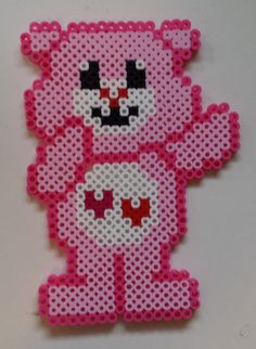 Perler Care Bear - Love-a-Lot Bear.