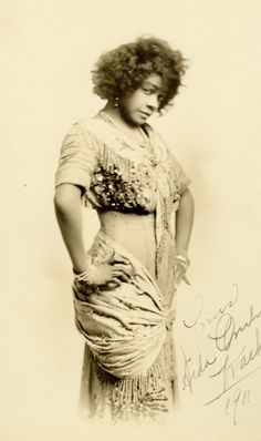 Black Vaudeville performer  Aida Overton Walker, 1911 ~   Aida Overton Walker, born in 1880. She was a singer, dancer, actress, and choreographer, regarded as the leading African-American female performing artist at the turn of the century.