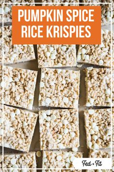 These pumpkin spice rice krispie treats are the perfect fall dessert! They have everything you love about the classic, but with just a hint of pumpkin spice. #pumpkin #fall #glutenfree Perfect Rice Recipe, Best Rice Recipe, Rice Krispie Treats Ingredients, Pumpkin Rice Krispie Treats, Cereal Recipes, Rice Recipes, Dessert Recipes, Gluten Free Recipes, Non Chocolate Desserts