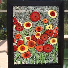 Buntglas-Mosaik Wiederverwendung Poppies Oz von ARTfulSalvage
