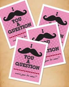 Mustache Printable Valentine by TheMombot on Etsy, $5.00