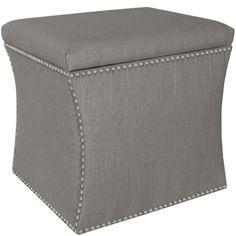 Custom Upholstered Nail Button Storage Ottoman