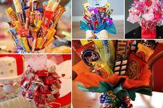 細々とした色んなお菓子を束ねると、ぜひとも飾っておきたいかわいいキャンディーブーケができあがる。そしてこれは子どもが集まるパーティーやプレゼント、部屋の飾りとし… Pen Pal Letters, Candy Bouquet, Diy And Crafts, Presents, Sweets, Birthday, Cake, Party, Desserts