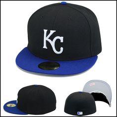 Details about New Era Kansas City KC Royals Fitted Hat Cap Black Royal White 9d62ae721e1b