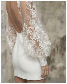 Rime Arodaky Lisa short white wedding bridal dress with modestly V neck and balloon puffy lace sleeves with floral motives. Mini Wedding Dresses, Bridal Dresses, Wedding Gowns, Prom Dresses, Elegant Dresses, Pretty Dresses, Beautiful Dresses, Gorgeous Wedding Dress, Civil Wedding