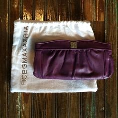 HOST PICK 5/21🌻BCBGMAXAZRIA Purple Leather Clutch Beautiful deep purple colored leather clutch. 9in long x 4.5in wide. No scuffs or distress to the leather. Great condition! Comes with dust bag. HOST PICK for Best in Bags Party on 5/21❤️ BCBGMaxAzria Bags Clutches & Wristlets