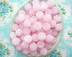 Pale Pink Berry Beads-berry beads, candy, pink, pale, vintage, beads, round, embellishment, jewelry making, berries, scrapbooking, supplies, crafts