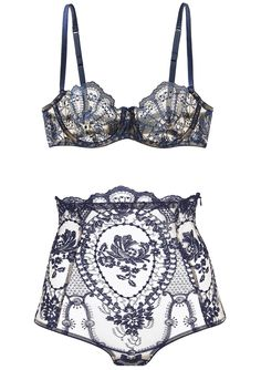 I.D. Sarrieri | La Naissance de Venus - in deep blue Chantilly embroidery lace…