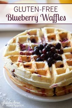 Waffles are a fun breakfast for kids and adults, and these gluten-free blueberry…