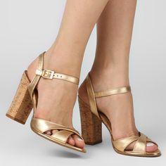Sandália Lilly's Closet Salto Grosso Cortiça | Zattini - A nova loja de moda online da Netshoes