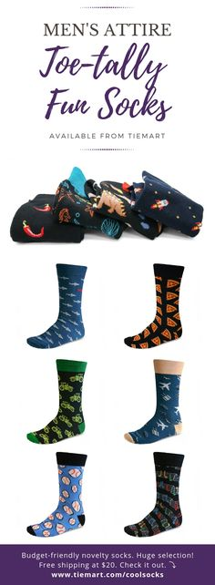 These men's pattern socks are toetally awesome for the guys in your life. There are novelty patterns for every occasion, interest and personality! Sports, food, music, professions and more! So much fun for unique gifts and groomsmen outfits. #socks #fathersday #groomsmen #groomsmenoutfit #gift #fungift #uniquegift #funsocksoutfit