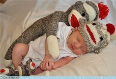 I love sock monkeys... and spooning.. and babies... too cute!