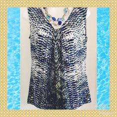 """""""Seas the Moment"""" NWOT beautiful top🐚🐚 Gorgeous and calming colors of the sea make this great top a summer must have!! Shades of blue and green with a splash of yellow. The top is a sleeveless v-neck that features a self tie with slight gathers at the bust line. Slight flare at the hemline. Easy care 95% polyester and 5% elastane. Just begs to be packed up and traveled with. Kasper Tops"""