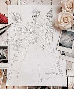 Fashion Illustration Patterns A little late night sketching. Halloween Illustration, Illustration Mode, Fashion Illustration Sketches, Fashion Sketchbook, Fashion Sketches, Dress Sketches, Art Sketches, Black Girl Art, Art Girl