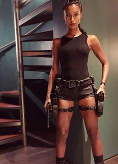 Jasmine Tookes as Lara Croft for Halloween
