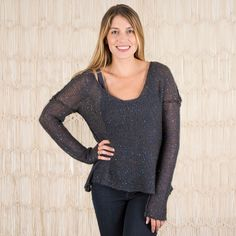 Heather Sweater in Navy with Blue Sequins By Natural Life
