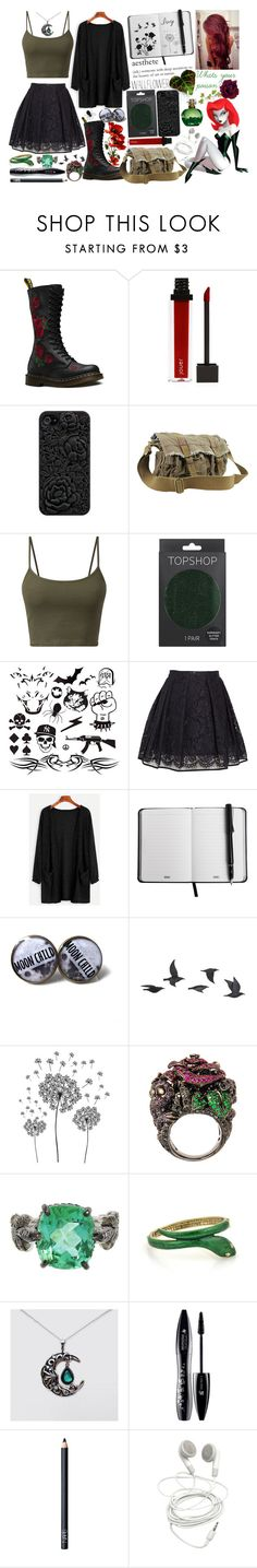 """""""Poison Ivy Inspired - Outfit #1"""" by abbie-the-psychox ❤ liked on Polyvore featuring éS, Dr. Martens, Jouer, Vagabond Traveler, Topshop, MSGM, Jayson Home, jcp, Rubie's Costume Co. and Cathy Waterman"""