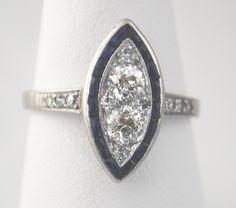 Beautiful Antique Diamond and Sapphire Ring