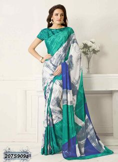 Breezy White and Green coloured Bemberg Silk Printed Saree