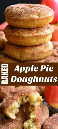 These delicious cake-like doughnuts are made with app… Apple Pie Baked Doughnuts. These delicious cake-like doughnuts are made with apple pie filling throughout and topped with some cinnamon sugar mixture. Apple Dessert Recipes, Apple Recipes, Sweet Recipes, Baked Apple Dessert, Baked Doughnut Recipes, Baked Doughnuts, Baked Apple Fritter Donut Recipe, Cake Donut Recipe Baked, Baked Apple Fritters
