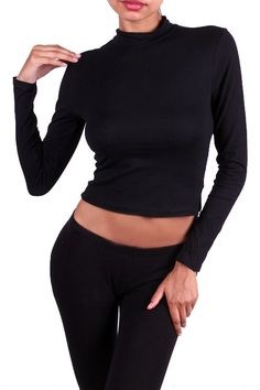 Long Sleeve Mock Turtleneck Crop Top