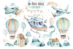 Watercolor set background illustration of a cute cartoon and fancy sky scene complete with airplanes, helicopters, plane and balloons, clouds. Its a baby shower design , Create Invitations, Baby Shower Invitations, Watercolor Illustration, Graphic Illustration, Air Balloon, Balloons, Cartoon Airplane, 2nd Baby Showers, Peace Art