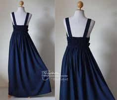 Long Navy Blue Maxi Dress Elegant Vstyled Neck  Love by Nuichan, $55.00