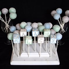 6 Baby Block Cake Pops - personalized with name, letters, numbers - for Baby Showers, Newborns, & Birthday favors. $21.00, via Etsy.
