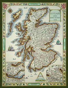Map of Scottish Clans under Robert the Bruce, 1314