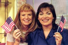 Actress Patsy Palmer (L) and GMTV presenter Lorraine Kelly at GMTV. It was announced 8/9/99 that Patsy, who plays Bianca in the BBC soap Eastenders will stand in for Lorraine for a week in October, and host the Lorraine Live section of the show from Miami.