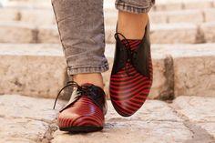 Schließen Sie Lederschuhe bedruckte Oxford Schuhe von BangiShop