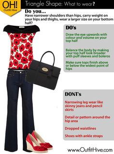 Outfit Ideas/Tips for the Triangle Body Shape. www.OutfitHive.com