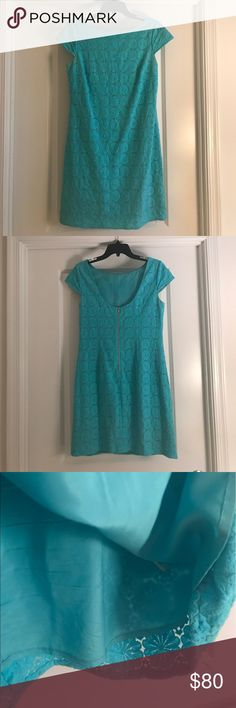 """Light turquoise Lilly Pulitzer shift dress! Lightweight, light blue/turquoise shift perfect for summer! Cap-sleeved and lined with lace detailing. Straight cut for a boxier fit - fits both small and large chest. Size 6 and hits just above the knee (for reference I am 5'9"""" with a slim/athletic build) I love this dress but am moving to a smaller closet trying to downsize...otherwise I'd keep it! Note: minor makeup marks around neck by inside and not visible. Lilly Pulitzer Dresses Mini"""