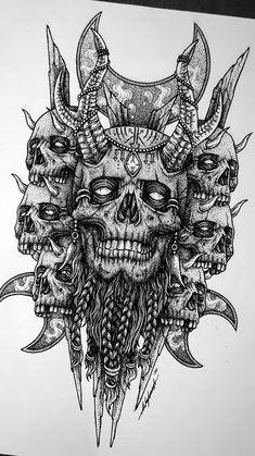 Back Piece Tattoo, Forest Forearm Tattoo, Dark Souls Tattoo, Mythology Tattoos, Norse Tattoo, Dark Tattoo, Evil Tattoos, Tribal Skull, Witch Tattoo