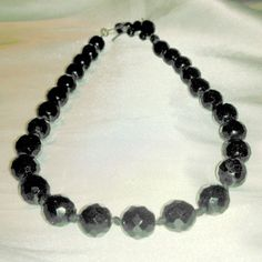 Vintage Made in Austria Black Faceted Glass by BorrowedTimes