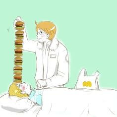 For Your Cold by のり- Hetalia - America / England -   http://www.pixiv.net/member.php?id=2553939 - Loved this part of the anime!