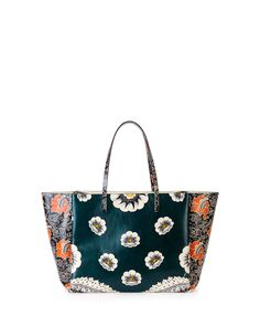 Valentino Covered Mixed Floral-Print Tote Bag, Green/Raspberry