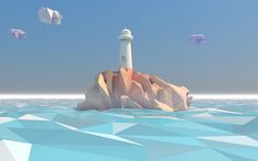 Low poly lighthouse by Andrus Valulis, via Behance