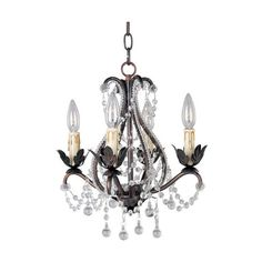 Bronze Crystal Mini Four-Light Chandelier ($248) ❤ liked on Polyvore featuring home, lighting, ceiling lights, hanging chain lamp, bronze ceiling lights, bronze chandelier, miniature chandelier and crystal chandelier