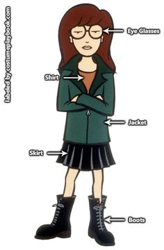 Costume guide for Daria and the rest of the Lawndale High bunch! http://costumeplaybook.com/tv-shows/daria-mtv/3069-daria-cosplay/