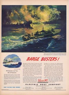 Barge Buster PT Boats Vintage Art Salute Advertising by Elco PT