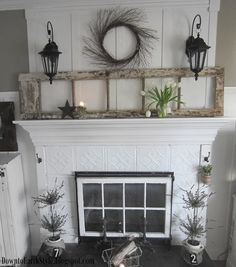 Love This Fireplace The Window In Opening Old Ceiling Tile Look Hooks On Sides To Hang Things From And French Door Leaning Above