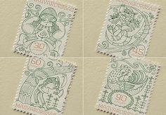 Stamp Design for Hungarian Folktales by Boglárka Nádi | Faith is Torment | Art and Design Blog