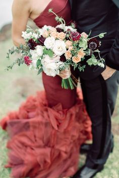 """The Bride wore Red"" I had this quote on my dream board for a year and look what happened! wore this dress that knocked my socks off! Can't wait to share more of this super chic wedding planned by at the gorgeous Maui. Purple Wedding Flowers, Rustic Wedding Flowers, Country Wedding Dresses, Modest Wedding Dresses, Red Wedding, Chic Wedding, Hawaii Wedding, Wedding Dresses Pinterest, Timeless Wedding"