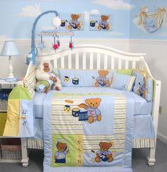 Beautiful baby nursery room decoration design ideas with boy baby crib bedding sets : agreeable unisex Baby Bedroom Sets, Baby Boy Bedding Sets, Baby Boy Cribs, Baby Crib Bedding Sets, Baby Boy Rooms, Blue Bedding, Baby Set, Loft Stil, Bed Sets