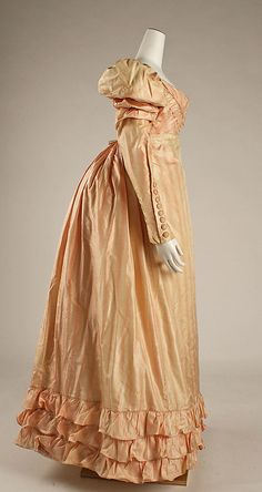 Visiting dress, silk, English, 1822